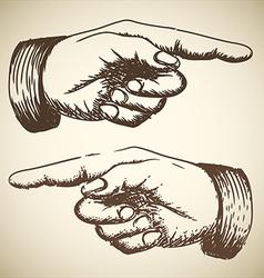 Retro vintage pointing hand vector