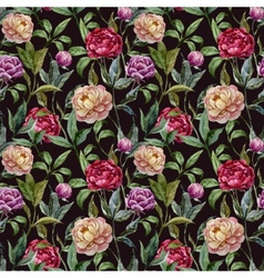 Beautiful watercolor pattern with peonies on black vector