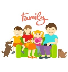 Family on the couch vector