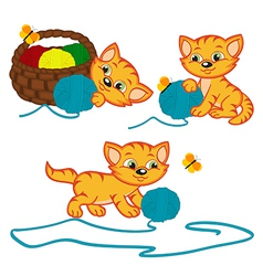 Kitten playing with balls of yarn vector