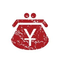 Red grunge yen purse logo vector