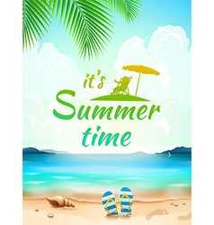 Summer time on background seascape beach waves vector