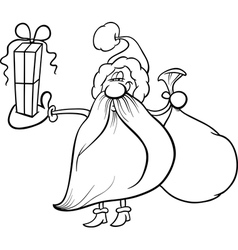 Santa claus with gift coloring page vector