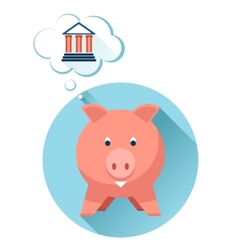Happy pig with bank symbol vector