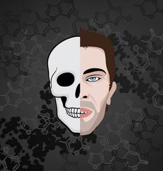 Half face skull vector
