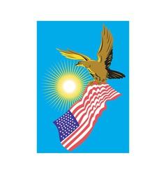 American bald eagle carry flag retro vector