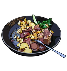 Frying pan with fried potatoes and meat vector