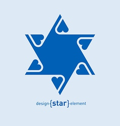 Abstract design element blue david star with vector
