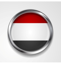 Republic of yemen metal button flag vector