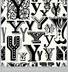 Seamless vintage pattern letter y vector