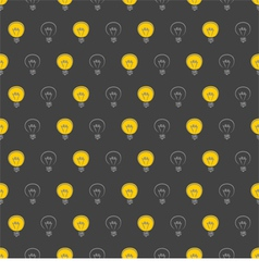Seamless dark pattern with yellow light bulbs vector