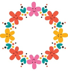 Cute flowers frame vector