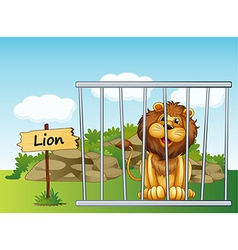 A lion in a fence vector