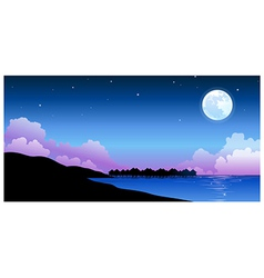 Full moon over peaceful water landscape vector