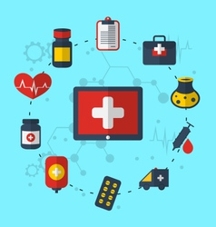 Tablet pc with medical icons for web design modern vector