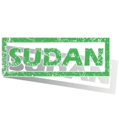 Green outlined sudan stamp vector
