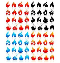 Fire flames big set icons vector