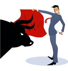 Businessman torero fighting a bull vector
