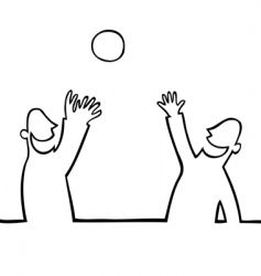 Two people throwing a ball vector