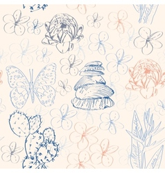 Seamless pattern with cactus butterflies flowers vector