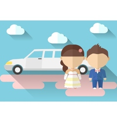 A bride and groom with limousine made in flat vector