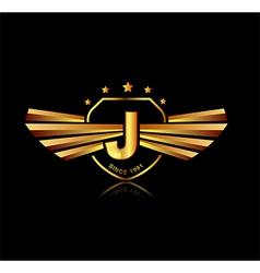 Letter j winged crests logo alphabet logotype vector