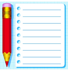 Pencil and scratch paper vector