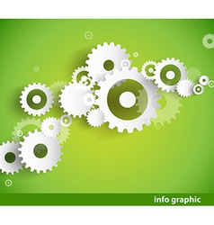 Set of cogwheels on green background and place for vector