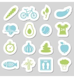 Health lifestyle stickers vector