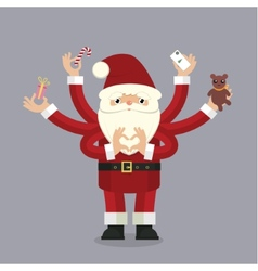 Many-armed santa claus on gray vector
