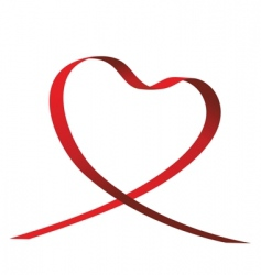 Heart shaped ribbon vector