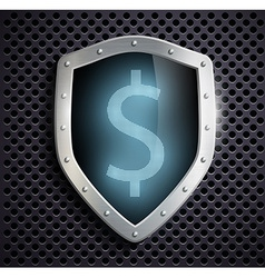 Metal shield with the image of dollar vector