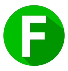 Letter f in green circle vector