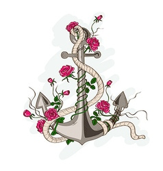 Anchor entwined with rose flowers vector