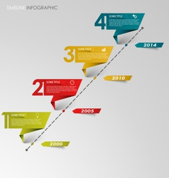 Time line info graphic colored folded paper vector