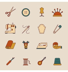 Sewing equipment icons set vector