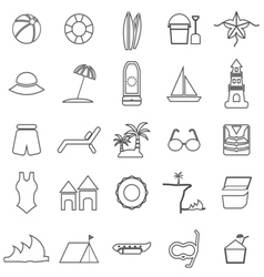 Beach line icons on white background vector