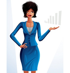 Beautiful mulatto businesswoman full-length vector