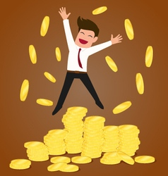 Successful businessman jumping on gold coins vector