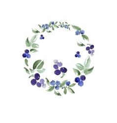 Watercolor floral ornament in a circle vector