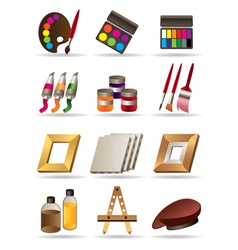 Painting materials and tools for artists vector