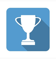 Trophy cup flat icon with long shadow vector