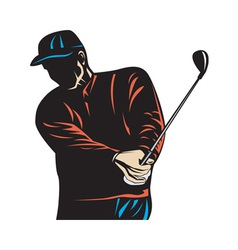 Golfer swinging club woodcut retro vector
