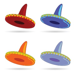 Sombrero in four color art vector
