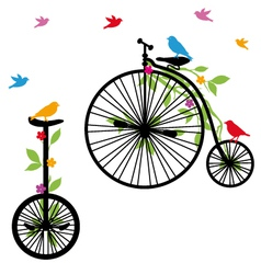 Retro bicycles with birds vector