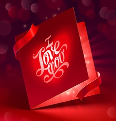 Valentines day glowing greeting card with ribbon vector