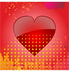 Love heart on abstract red background vector