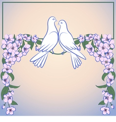 Two white doves and decor of blossoming apple tree vector