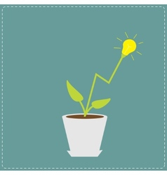 Lamp light bulb plant in the pot growing idea vector
