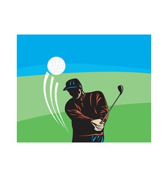 Golfer swinging club retro vector